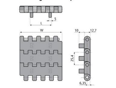 модульная конвейерная лента для бутылок с двойными позитреками